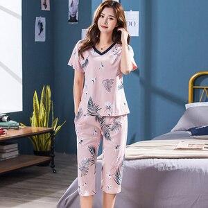 Image 2 - Conjunto de pijamas femininos de tamanho grande, camisola de manga curta macia, estampa de animais de pássaros, pijamas femininas, verão M 4XL