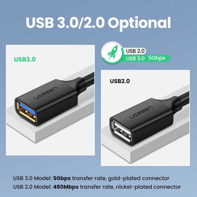 UGREEN USB Extension Cable USB 3.0 Cable for Smart Laptop PC TV Xbox One SSD USB 3.0 2.0 Extender Cord Mini Fast Speed Cable 6