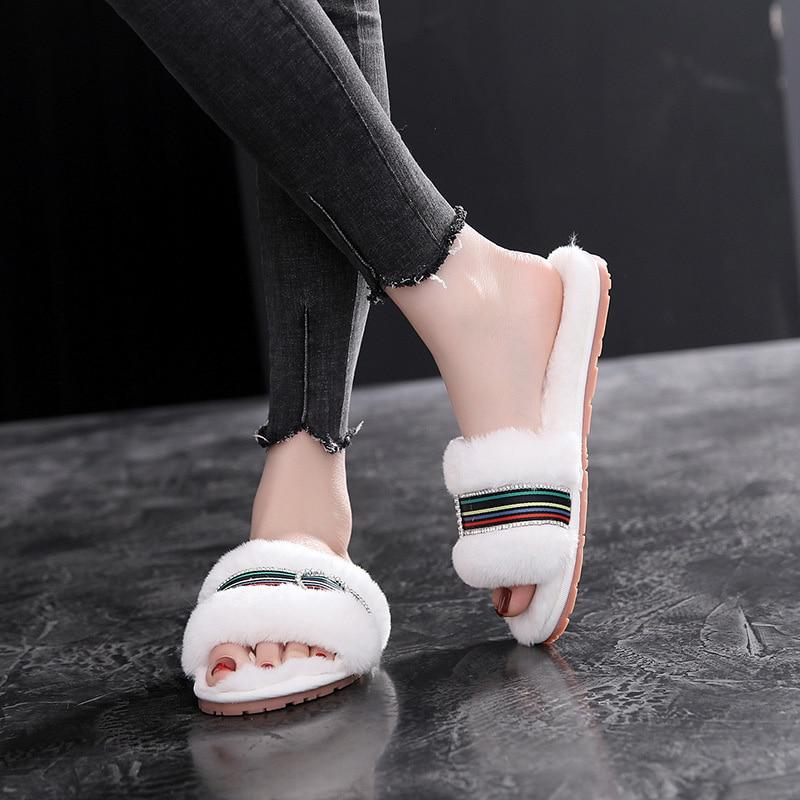 Women Slippers Fur Slides Winter Slippers Women Shoes Stripe Indoor Shoes Slip On Causal Shoes Female Flats Women Slides DE