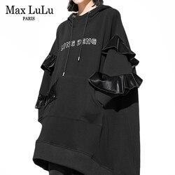 Max LuLu 2019, зимняя модная Роскошная Корейская одежда, женские толстовки с капюшоном, женская меховая одежда с принтом в стиле панк, повседневны...