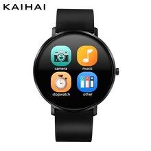 KAIHAI akıllı saat temperli cam nabız monitörü Smartwatch müzik kronometre dokunmatik ekran Android telefon için IP67 su geçirmez