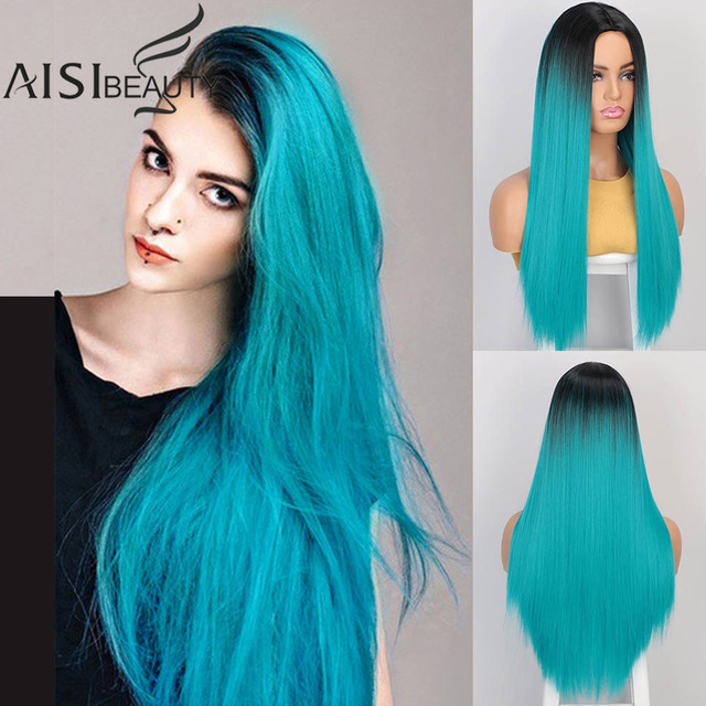 AISIBEAUTY Synthetic Womens Wig Omber Blonde Long Straight Wig High Temperature Fiber Natural  Hair for African American Women