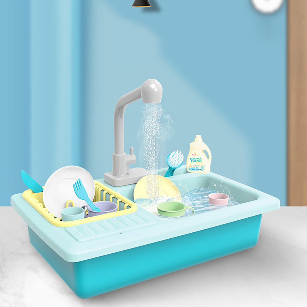 Color Changing Kitchen Sink Toys Children Heat Sensitive Thermochromic Dishwash Children's Kitchen Toy Pretend Play House Toys
