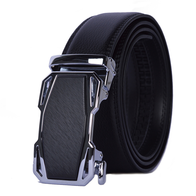 Men Luxury Fashion Leather Ratchet Automatic Buckle Belt