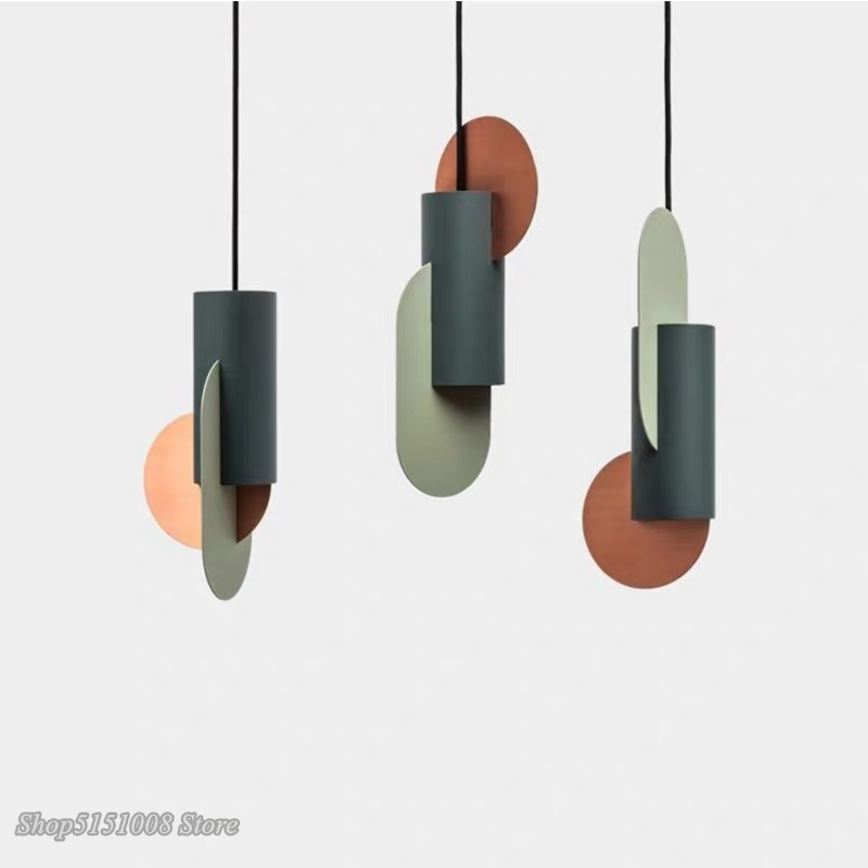 Nordic Modern Pendant Light Color Matching Single Head Hanging Lamp Green Cylindrical LED Bedroom Home Decor Lighting Fixtures