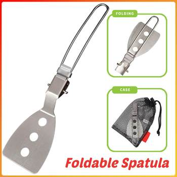 1 Set Portable Outdoor Hiking Camping Folding Cooking Shovel Outdoor Camping Hiking Picnic Spatula Foldable Stainless Steel image