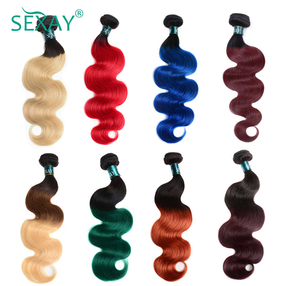 Sexay Ombre Brazilian Hair Weave Bundels 1b/27 Bordeaux 99J Groen Rood Blauw Oranje Pre-Gekleurde Menselijk Haar bundels Remy Extensions
