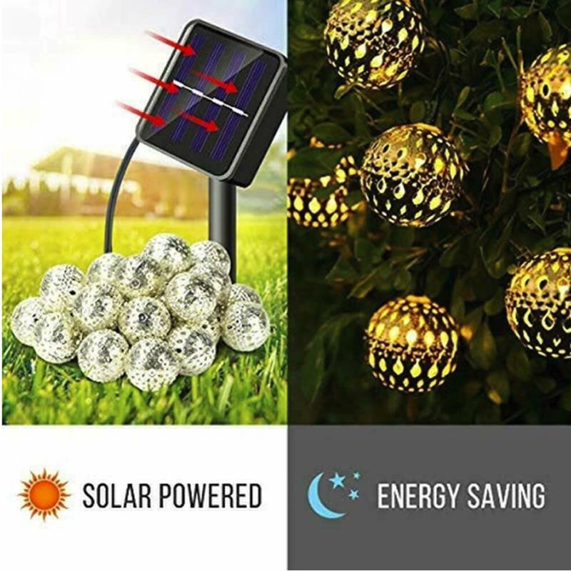 10/20LED Solar Power Moroccan Fairy Lamp Solar String Lights Creative Metal Ball Outdoor Xmas Party Romantic Durable Festival