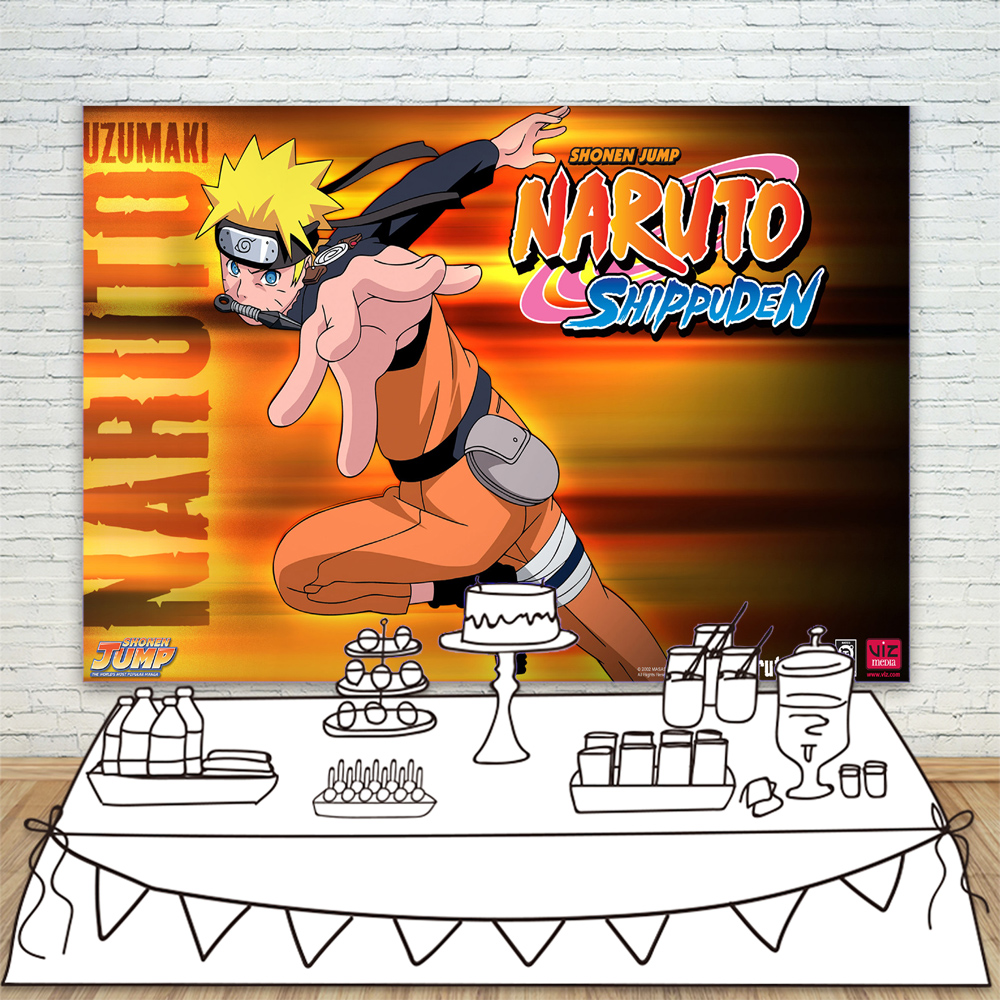 Personalized Party Backdrop with Name and Age Custom Party Decorations and Supplies Naruto Birthday Banner Photography Background