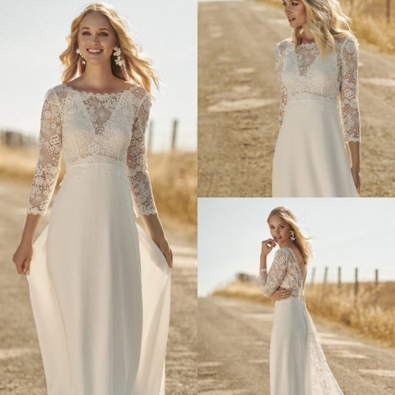 2020 Bohemian Wedding Dresses Jewel Lace Appliqued Boho A Line Wedding Dress Long Sleeves Backless Plus Size Bridal Gowns