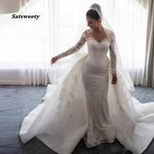 Luxury Muslim Lace 2 Pieces Mermaid Wedding Dresses With Detachable Train Full Sleeves Big Bow Beaded Bridal Gowns Button