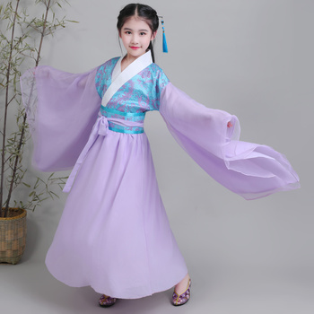 Chinese Girl's Guzheng Perform Costumes Children Ancientry Fairy Princess Clothing Cosplay Girls Ancient Dramaturgic Dress