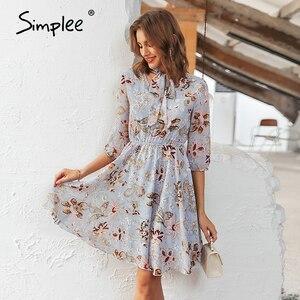 Image 4 - Женское винтажное платье с цветочным принтом Simplee, элегантное офисное платье с высокой талией и рукавом до локтя, шикарные вечерние платья для весны и лета