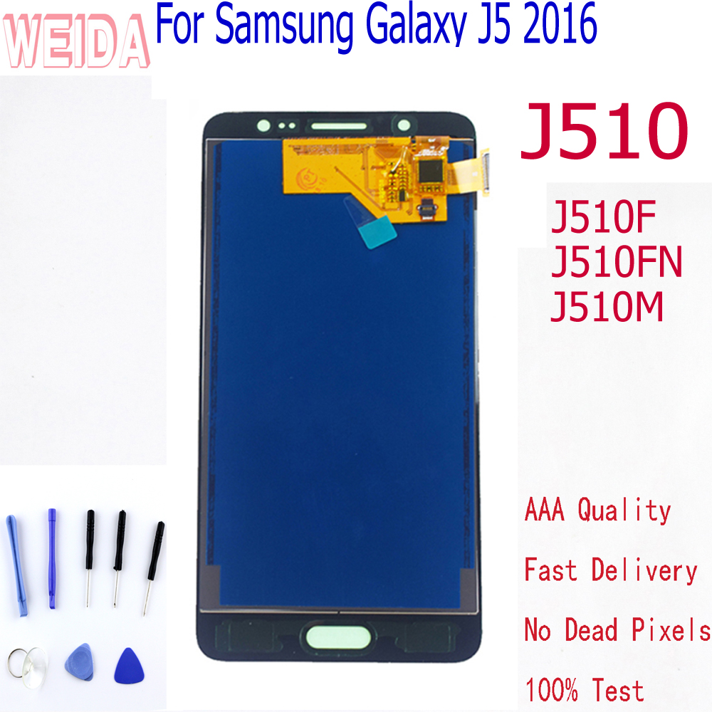 WEIDA For Samsung Galaxy J5 2016 J510 <font><b>Display</b></font> Touch Screen Digitizer Assembly For Samsung J510F LCD <font><b>J510FN</b></font> J510M J510Y J510G image