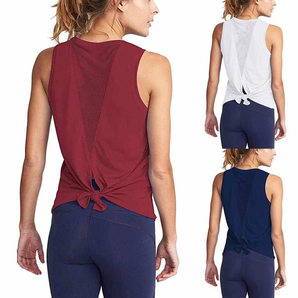 Malha o-pescoço tank tops feminino bonito treino activewear sexy aberto para trás esportes poliéster ciuchy damskie kadin giyim ropa de mujer