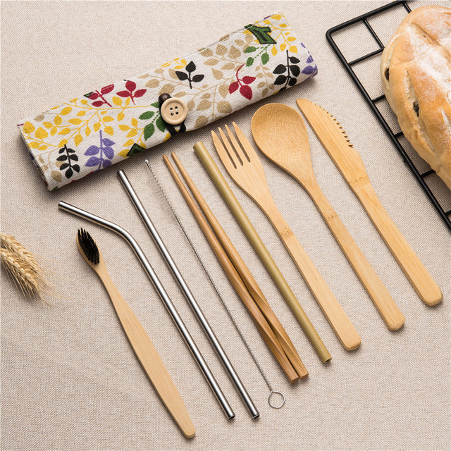 Reusable Bamboo Utensils Set (Floral)