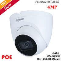 Dahua nova lite 4mp poe câmera ip h.265 embutido ir led mic suporte 256 gb sd cartão modo de rotação IPC-HDW2431T-AS-S2 cam de segurança