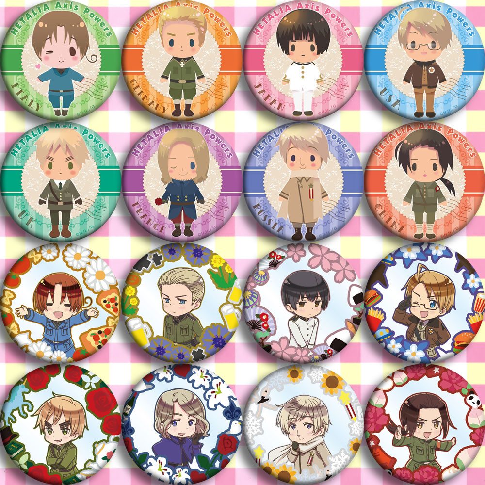 Japan Anime Hetalia Axis Powers F Cosplay Badge Cartoon Brooch Pins Collection Bags Badges For Backpacks Button Gifts