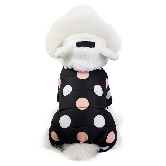 Pet Dog Clothes Winter Dog Hoodie Jumpsuit Small Dog Dot Printed Jacket Clothes Cute Fleece Ear Design Cotton-padded Coat 4