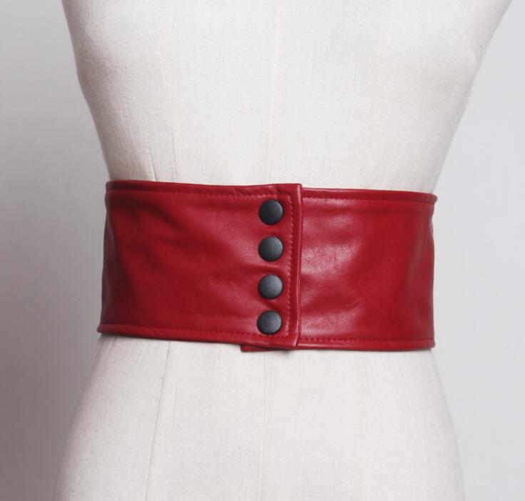 Women's Runway Fashion Pu Leather Elastic Cummerbunds Female Dress Corsets Waistband Belts Decoration Wide Belt R1838