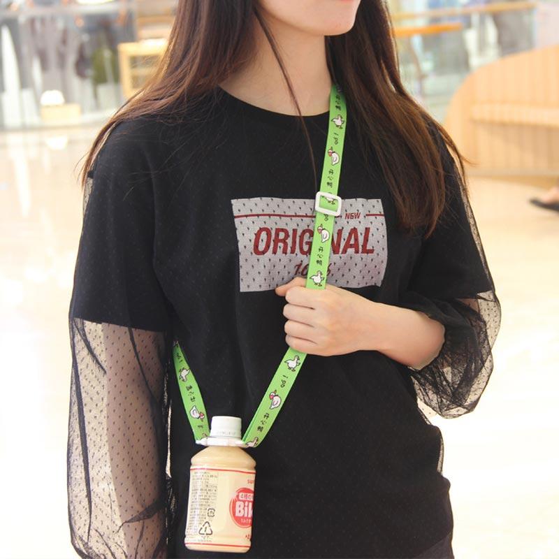 Japanese Korean Sesame Street Mineral Water Beverage Bottle Suspender Strap Portable Cup Lanyard Back Hose Buckle 2