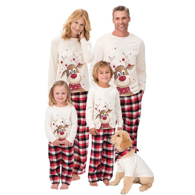 2019 Family Christmas Pajamas Set Fashion Deer Print Adult Women Kids Xmas Family Matching Clothes Family Clothes Sleepwear