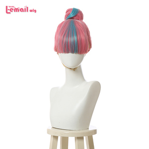 Image 1 - L email wig LoL True Damage Qiyana Cosplay Wigs Prestige Pink Mix Blue Wigs with Bangs Cosplay Wig Heat Resistant Synthetic Hair