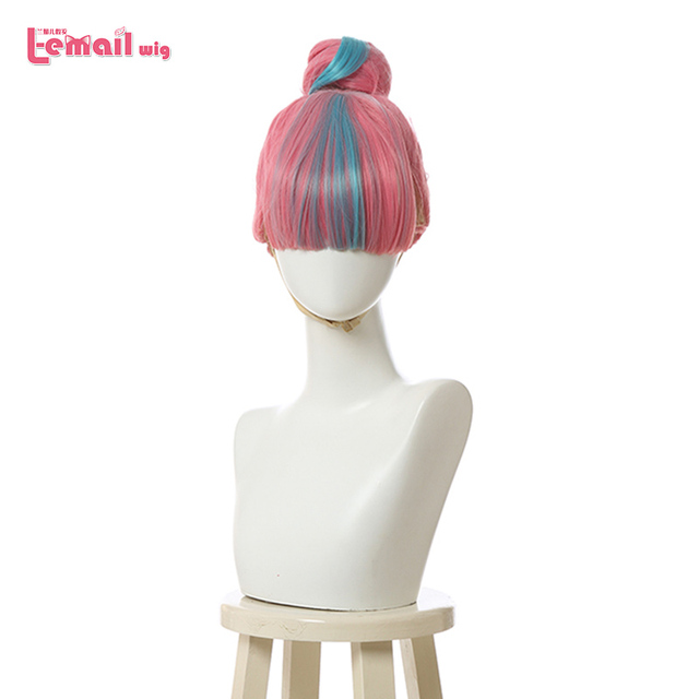 L email wig LoL True Damage Qiyana Cosplay Wigs Prestige Pink Mix Blue Wigs with Bangs Cosplay Wig Heat Resistant Synthetic Hair