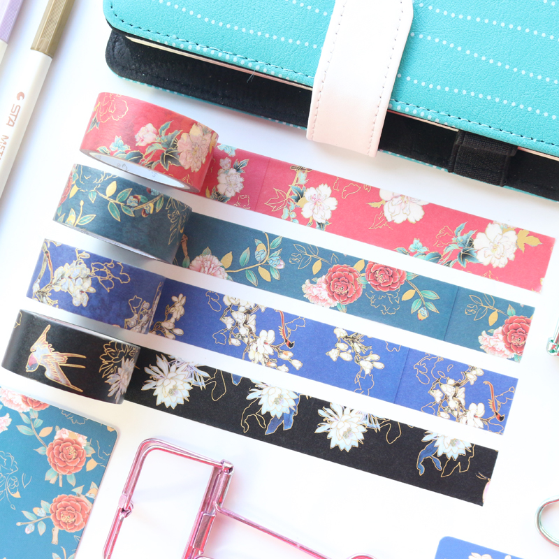 Domikee Chinese Vintage Gold Foil Flower Pattern Washi Tape School Kids Bullet Journal Diary Photo DIY Decoration Masking Tape