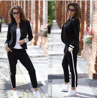 2019 autumn Fashion women Pant suits Russia Style Black Long sleeve Black Formal Interview OL ladies winter set women