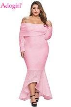 Adogirl XL-5XL Overlay Off Shoulder Fishtail Plus Size Maxi Dress Elegant Sexy Women Slash Neck Long Sleeve Hi Lo Party Dresses