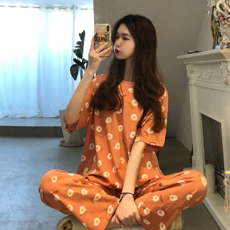 Japanese Summer New Sweet Tracksuit Cute Cartoon Poached Egg Comfortable Pajamas Home Loose Casual Suit Women Orange Sleepwear