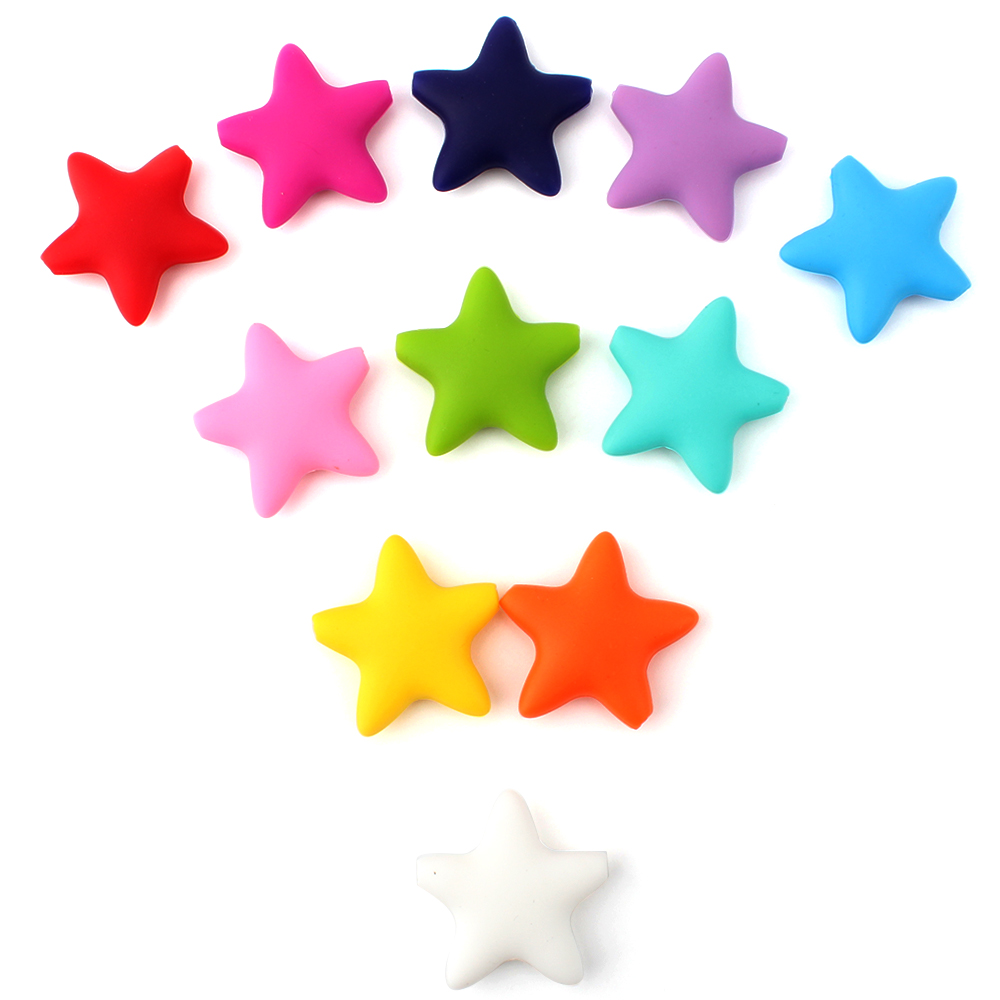 Keep&grow 50 Pcs Star Silicone Beads Baby Teething BPA Free Silicone Teething Beads Food Grade Baby Chew Teething Necklace DIY