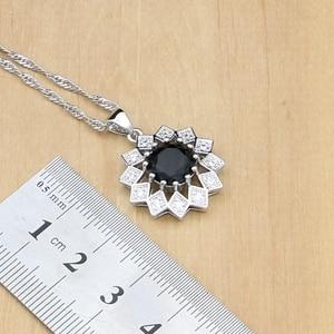 Image 3 - Siyah taş beyaz CZ takı setleri 925 gümüş gelin takı kadınlar için parti küpe/kolye/yüzük/bilezik/Kolye seti