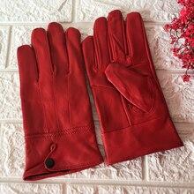Women Winter Leather Gloves Red/Black New Fashion Genuine Sheepskin Finger Thick Warm Mittens G12B