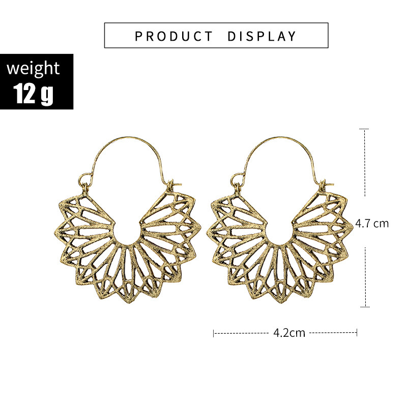 Ha4f3227aa18a41b284a3f7870ead22dar - HuaTang Vintage Gold Silver Color Metal Dangle Hollow Earrings for Women Geometric Carved Ethnic Earring Indian Jewellery brinco