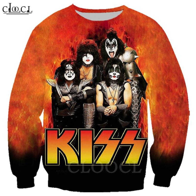 Mens Womens 3D print Rock Band KISS Sweatshirt Hoodies Jogging pants Sport Suit