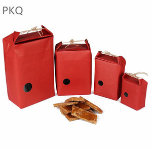 Image 2 - 20pcs Kraft Paper Packaging Bag With Handle Tea Food Package Paper Box Event Party Favor Gift Storage Bag