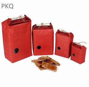 Image 2 - 20pcs Kraftpapier Verpakking Met Handvat Thee Voedsel Pakket Papier Doos Event Partij Gunst Gift Opbergtas