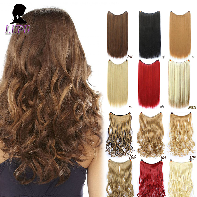 24 Inches Long Wavy Invisible Hair Extension Secret Wire Fish Line Synthetic Hairpieces Real Natural Heat Resistant LUPU WIG
