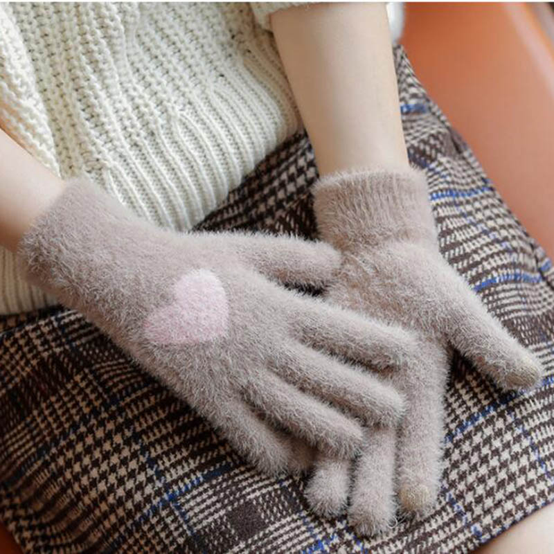 Woman Accessories Winter Women Knitted Touch Gloves Plus Velvet Thick Warm Love Touch Screen Mittens Winter Riding Mittens D24