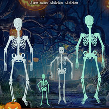 Licht speelgoed glow in the dark 30cm Lichtgevende Schedel Skelet Body Scary Halloween Speelgoed Spookhuis Tricky Prop Halloween toyL505913(China)