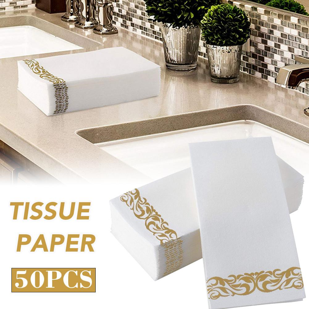50 Uds servilletas toallas de mano excelente suavidad y absorción sin polvo pañuelo desechable de papel toalla para cualquier ocasión