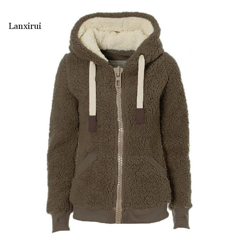 Winter Sweatshirts Women  Warm Flannel Casual Hoodie Sweatshirt Solid Hooded  Hoodies Drawstring Fashion Female Plush Coat