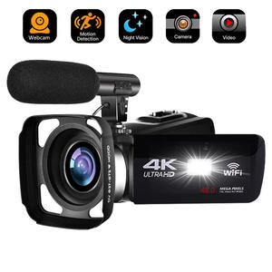 Video-Camera Digital Camcorder Time-Lapse Photography Night-Vision 4K with Lens Hood