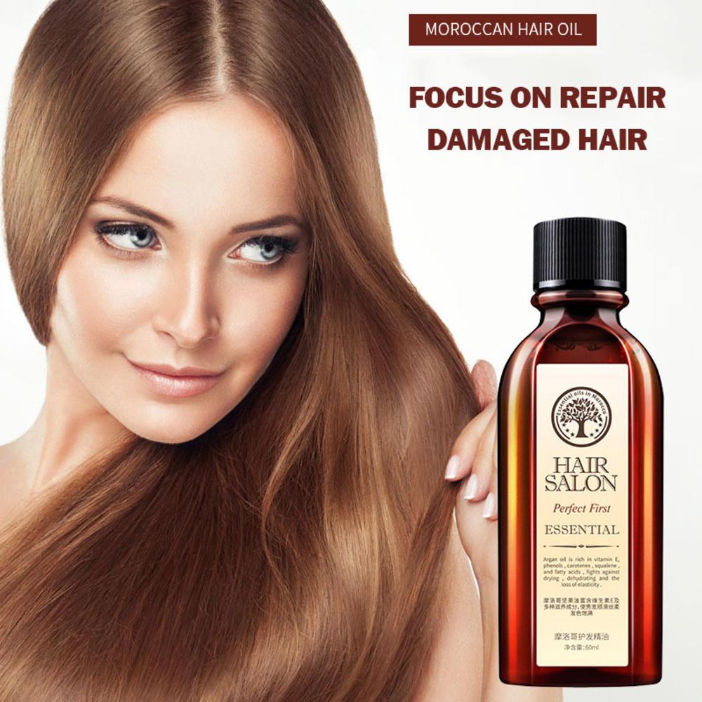 60ml Multi-functional Hair & Scalp Treatments Hair Oil Hair Care Moroccan Pure Argan Oil Hair Essential Oil For Dry Hair Types