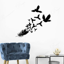 Wall Decal Birds Feather Beautiful Room Decor Art Vinyl Wall Sticker Mural Home Decoration Wallpaper Removable 4323 welcome sign many languages wall sticker decal art vinyl mural office shop home wall decor welcome diy wallpaper removable bg07