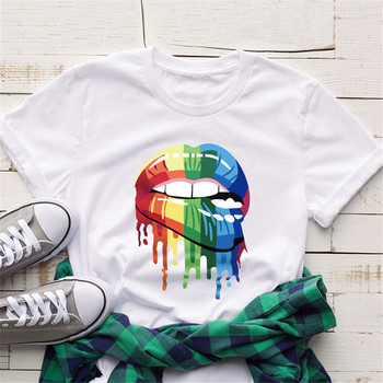 Bawełniane koszulki damskie 2020 nowe modne kolorowe tęczowe koszulki z nadrukiem ust śmieszne koszulki z krótkim rękawem damskie letnie koszulki w stylu harajuku Tees tanie i dobre opinie COTTON Poliester Topy REGULAR Suknem Drukuj White T-shirt WOMEN NONE Na co dzień Osób w wieku 18-35 lat O-neck Rainbow Lips print Shirt