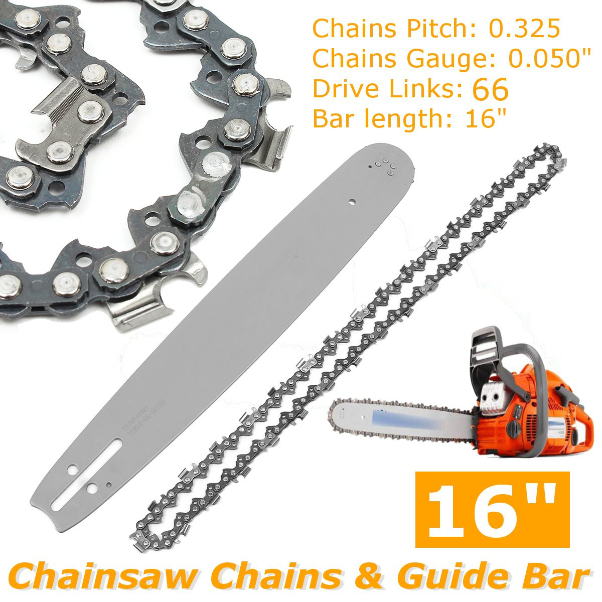 2Pcs 16 inch Chainsaw Chains  Guide Bar Semi Chisel Chain For Husqvarna POULAN 36 41 50 51 55 346XP 450 455 460 66DL