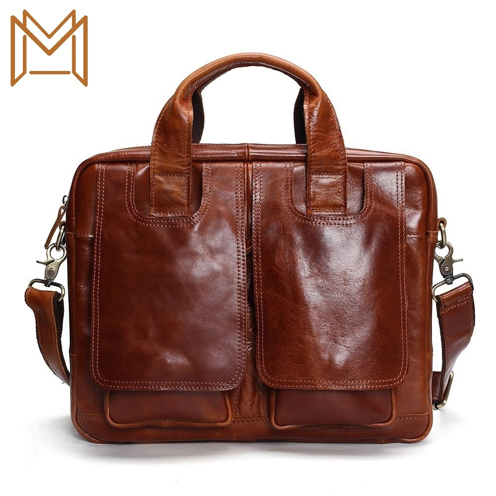 Popular Genuine Leather Male Package Man Business Affairs Briefcase Portable Computer Package Single Shoulder Messenger Male